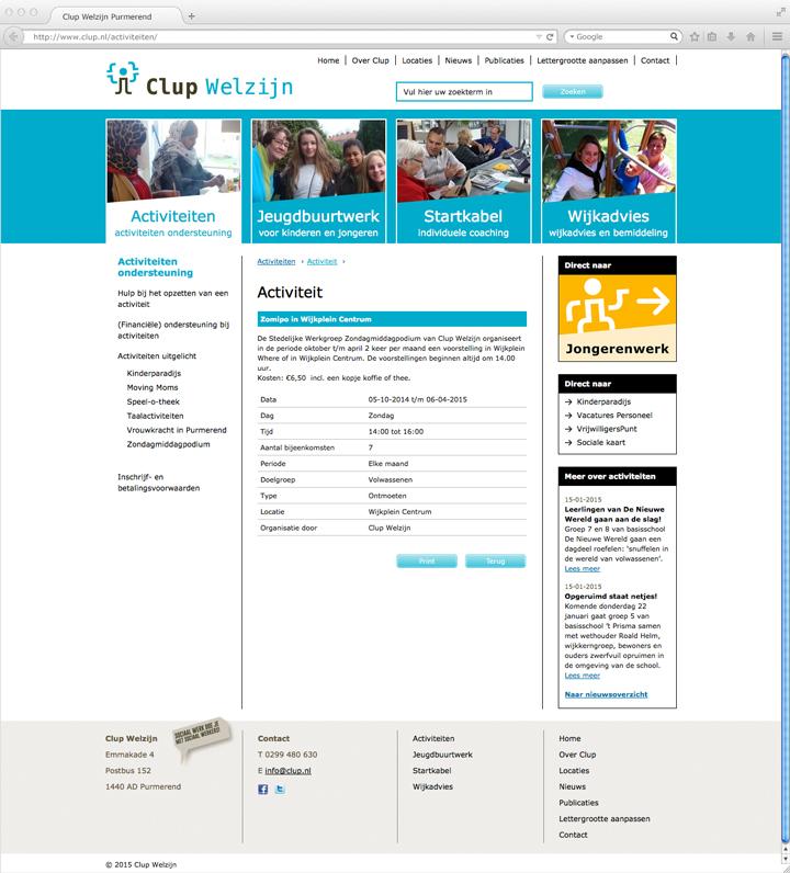 Clup Welzijn website pagina activiteiten
