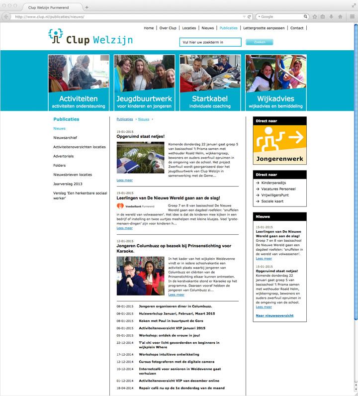 Clup Welzijn website pagina nieuws
