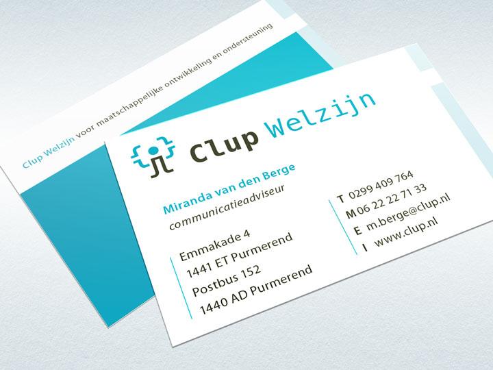 Clup Welzijn voor- en achterzijde visitekaartje