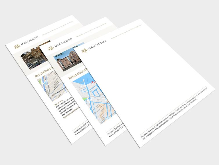ontwerp briefpapier en template routebeschrijving
